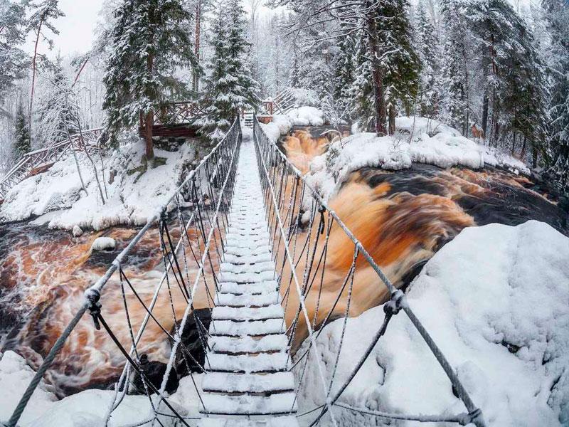 Рускеальские водопады Ахвенкоски зимой