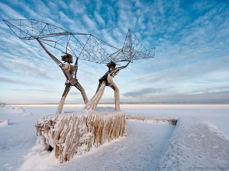 набережная Петрозаводска зимой