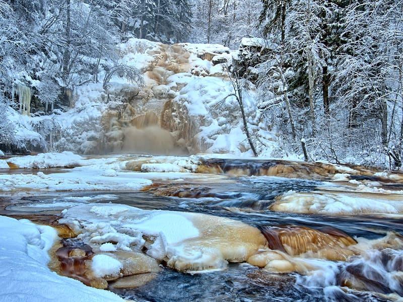 Водопады Юканкоски зимой фото